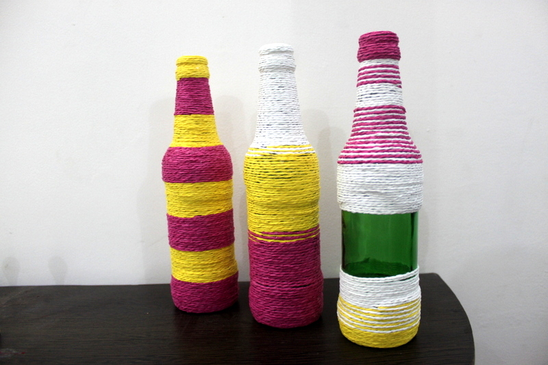 Material Used: Beer Bottles and Paper Rope