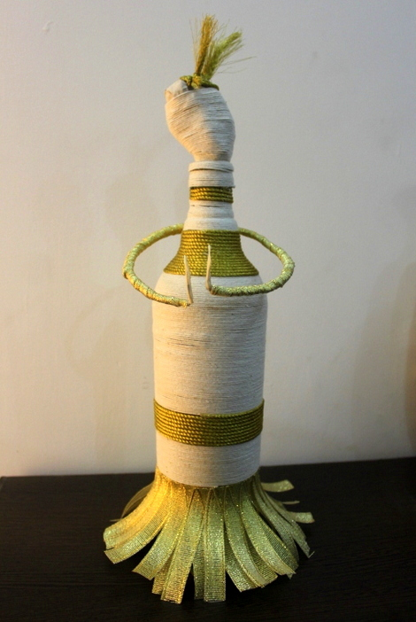 Material Used: Waste Glass Bottle and White & Golden Ropes
