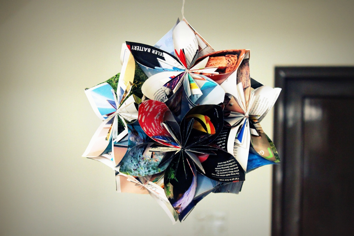 The Floating Bloom Origami Flower Ball From Waste Paper