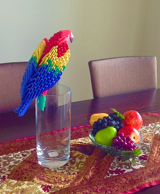 Colorful 3D Origami Parrot