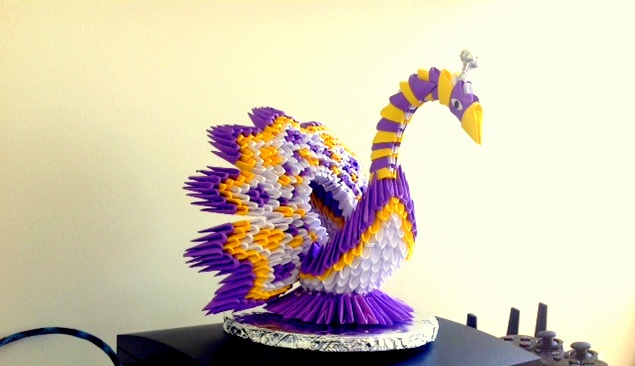 Colorful 3D Origami Swan
